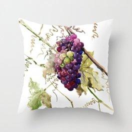 Grapes, California Vineyard Wine Lover design Throw Pillow