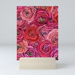 red and pink floral Ranunculous flowers Mini Art Print