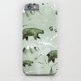 Bears and mountains pattern green iPhone Case