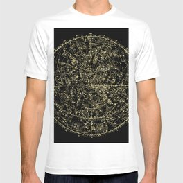 Astro Astronomy Constellations Astrologer Vintage Map T-shirt