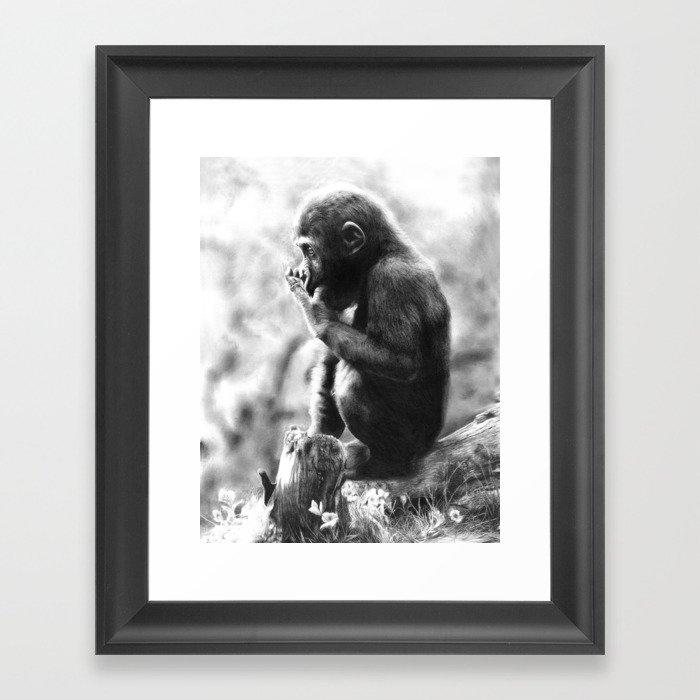 Baby Gorilla Framed Art Print