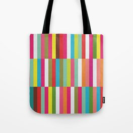 Bright Colorful Stripes Pattern - Pink, Green, Summer Spring Abstract Design by Tote Bag