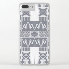 Art Deco Abstract Soft Grey Clear iPhone Case