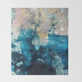 Timeless: A gorgeous, abstract mixed media piece in blue, pink, and gold by Alyssa Hamilton Art Throw Blanket