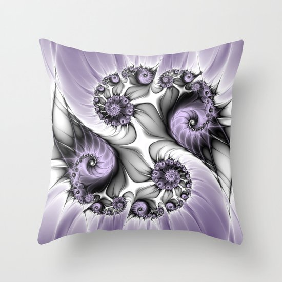 Lilac Illusion Fractal Throw Pillow