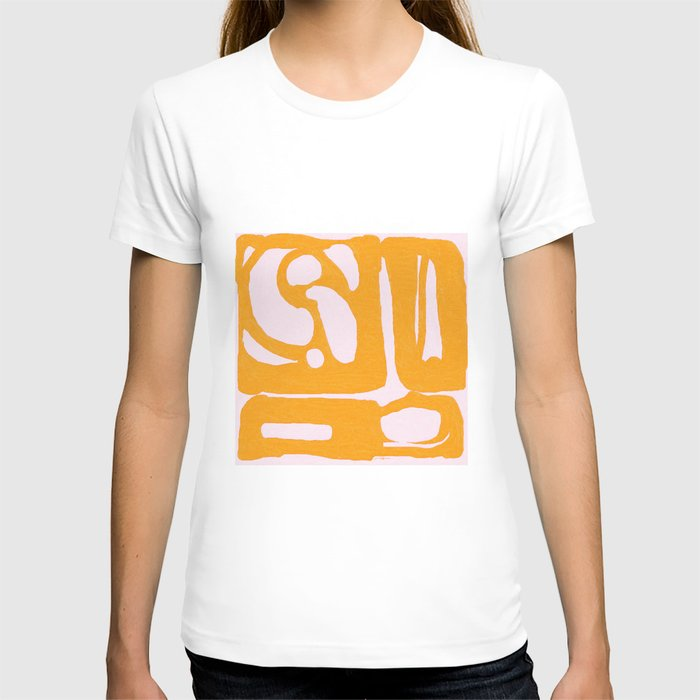 Abstract in Yellow and Cream T-shirt