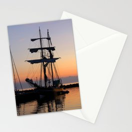 Vintage Silhouetted Sunset Sail Boat Stationery Cards
