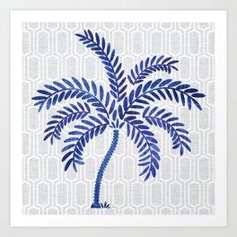 Indigo Palm Art Print