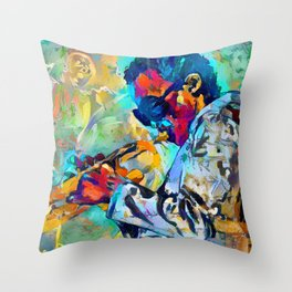 Jazz State of Mind - Colorful Impressionism Miles D. Davis Louis Armstrong Trumpeters Throw Pillow