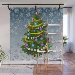 Christmas tree & snow Wall Mural