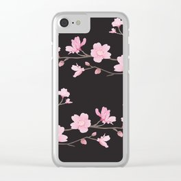 Cherry Blossom - Black Clear iPhone Case