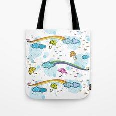 Rainbows and Raindrops Tote Bag