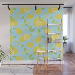 Bright And Sunny And Stamped Lemon Citrus Pattern Wall Mural