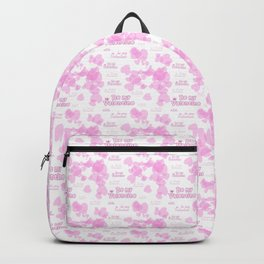 Be my Valentine. Pink seamless background with hearts and text on a white Backpack