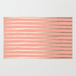 Abstract Stripes Gold Coral Pink Rug