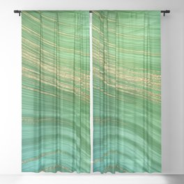 Green Mermaid Glamour Marble With Gold Veins Sheer Curtain