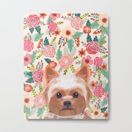 Yorkshire Terrier floral dog portrait pink cute art gifts for yorkie dog breed lovers Metal Print