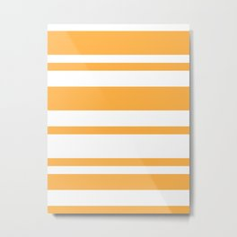 Mixed Horizontal Stripes - White and Pastel Orange Metal Print