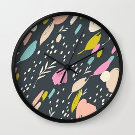 Paint doodle: abstract bright colour pops on black Wall Clock