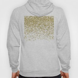 Sparkling gold glitter confetti on simple white background - Pattern Hoody
