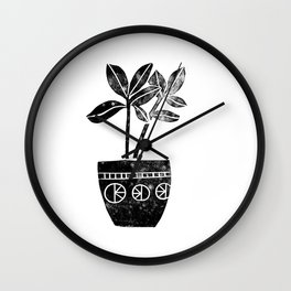 House Plants linocut black and white minimal modern lino print perfect decor piece Wall Clock