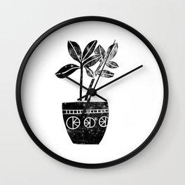 House Plants linocut black and white minimal modern lino print perfect decor piece Wall Clock