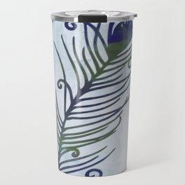 Watercolor Peacock Feather Travel Mug