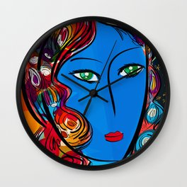Blue Pop Girl of the morning Wall Clock