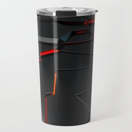 Black fractured surface with red glowing lines Travel Mug