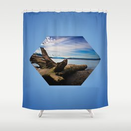 Exposition in Blue Shower Curtain