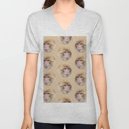 funny cute japanese macaque monkey pattern Unisex V-Neck