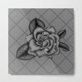 Grey Gardenia Flower on Diamonds Pattern Metal Print
