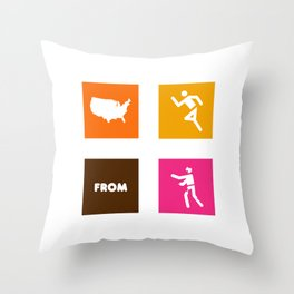 America Runs From Zombies Throw Pillow