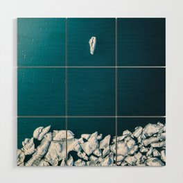 Minimalist Ice Bergs in the blue Ocean - Aerial Photography Wood Wall Art