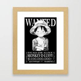 WANTED - Luffy Framed Art Print