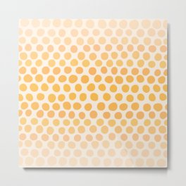 Honey Gold Ombre Dots - White Metal Print