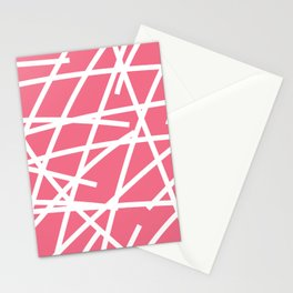 Abstract Criss Cross White Strokes on Pink Background Stationery Cards