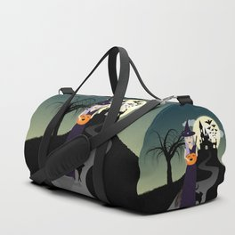 Cute Halloween Witch With Happy Pumpkin And Black Cat Duffle Bag