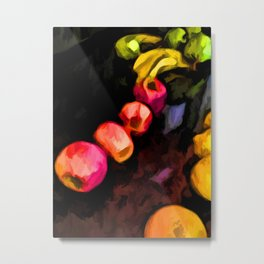 Still Life of Pink Apples in a Curve Metal Print