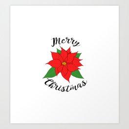 Merry Christmas Poinsettia Art Print