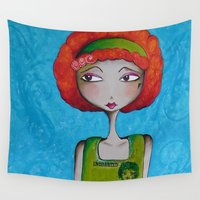 redhead Wall Tapestries featuring The Enchanted Redhead and her Flower by Nicci Dot C A