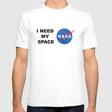 I need my space SMALL White Mens Fitted Tee