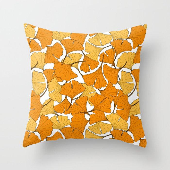 ginkgo leaves (orange) Throw Pillow