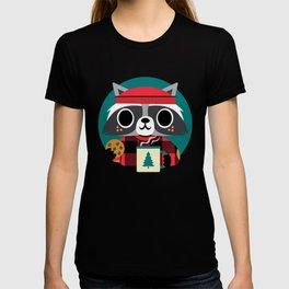 Raccoon in Red Buffalo Plaid Sweater T-shirt