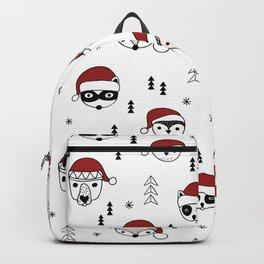 Scandinavian geometric woodland santa indian animals christmas pattern white red Backpack