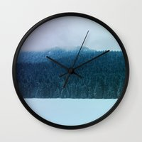 oregon Wall Clocks featuring Oregon Winter by Leah Flores
