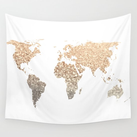 World map picture for wall gallery diagram writing sample and guide gold world map wall tapestry by monika strigel society6 gold world map wall tapestry sciox gallery sciox Images