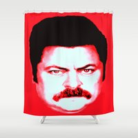 "swanson Shower Curtains featuring Ron Swanson ""No"" by Silvio Ledbetter"