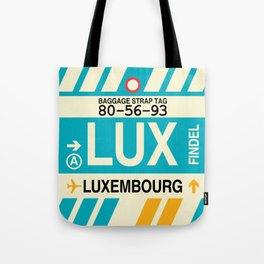 LUX Luxembourg • Airport Code and Vintage Baggage Tag Design Tote Bag