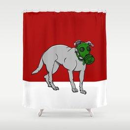 Dog Wearing A Gas Mask Shower Curtain